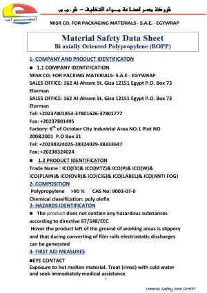 Egywrap Material Safety Data Sheet